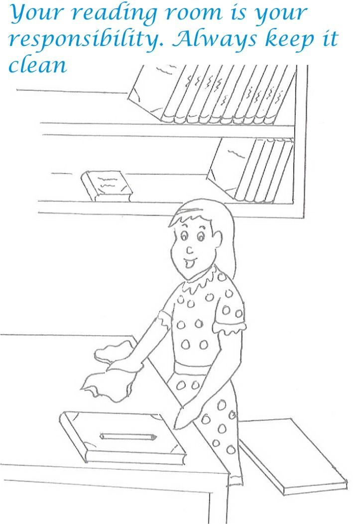 Etiquette for kids in home coloring page 5