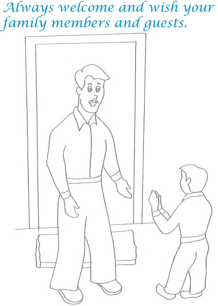 Etiquette for kids in home coloring page 22