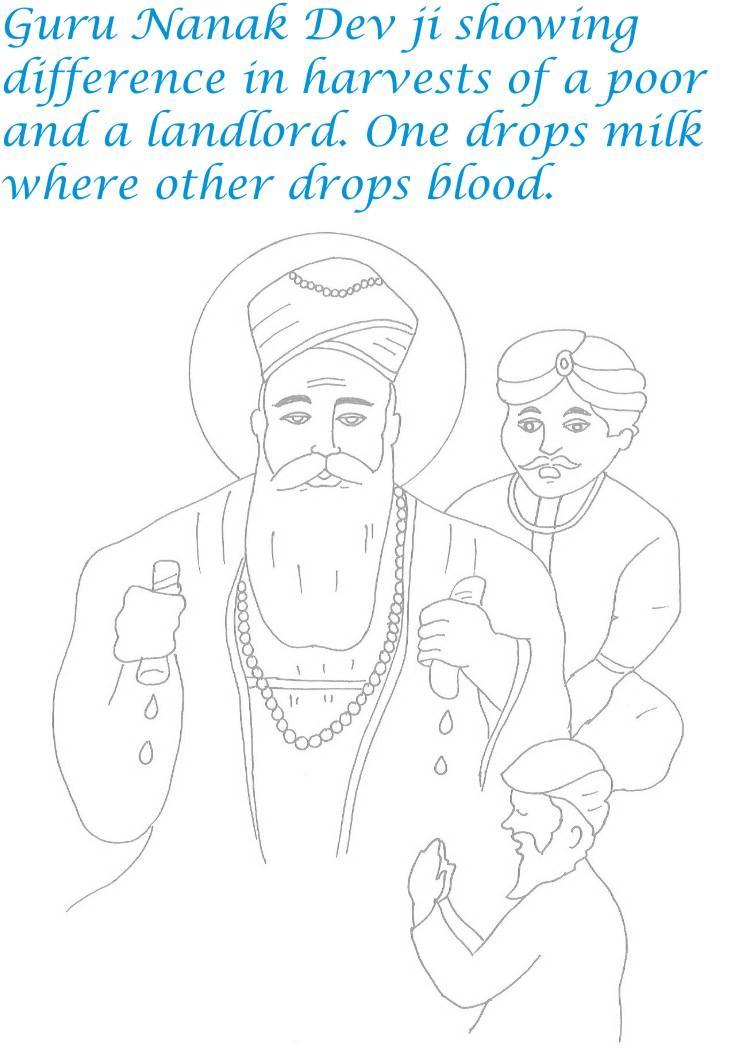 Guru Nanak birthday coloring page for kids 4