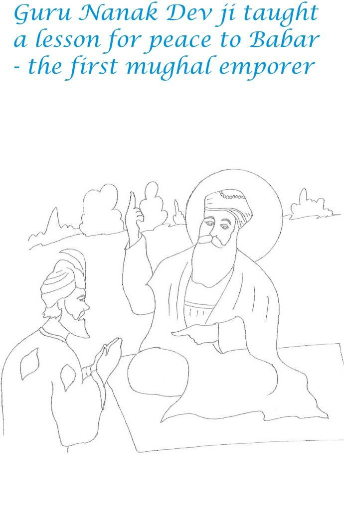 Guru Nanak birthday coloring page for kids 8