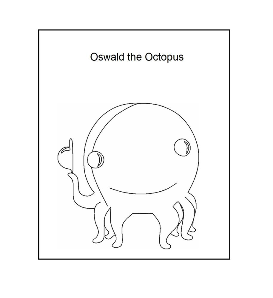 "Oswald the Octpus - says ""Hello"" coloring printable"
