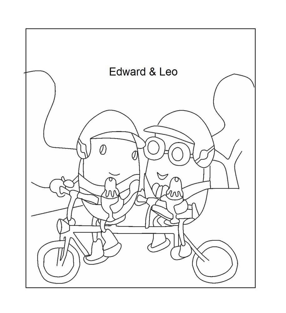 Edward & Leo riding the bicycle coloring page