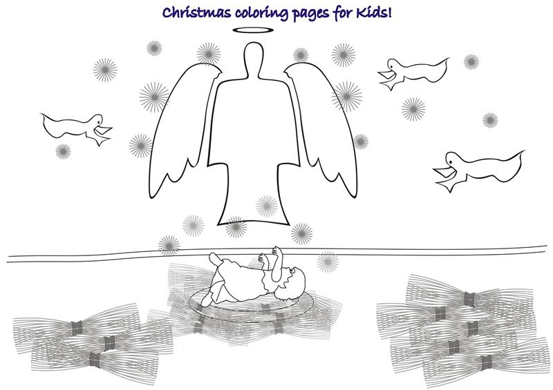 Christmas with angels coloring printable page