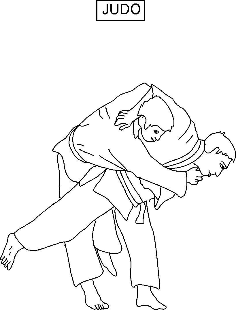 judo coloring printable page for kids