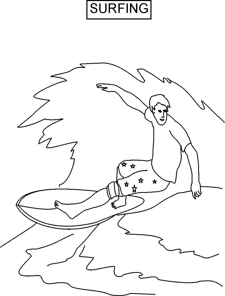 This is a picture of Nifty Surfing Coloring Pages
