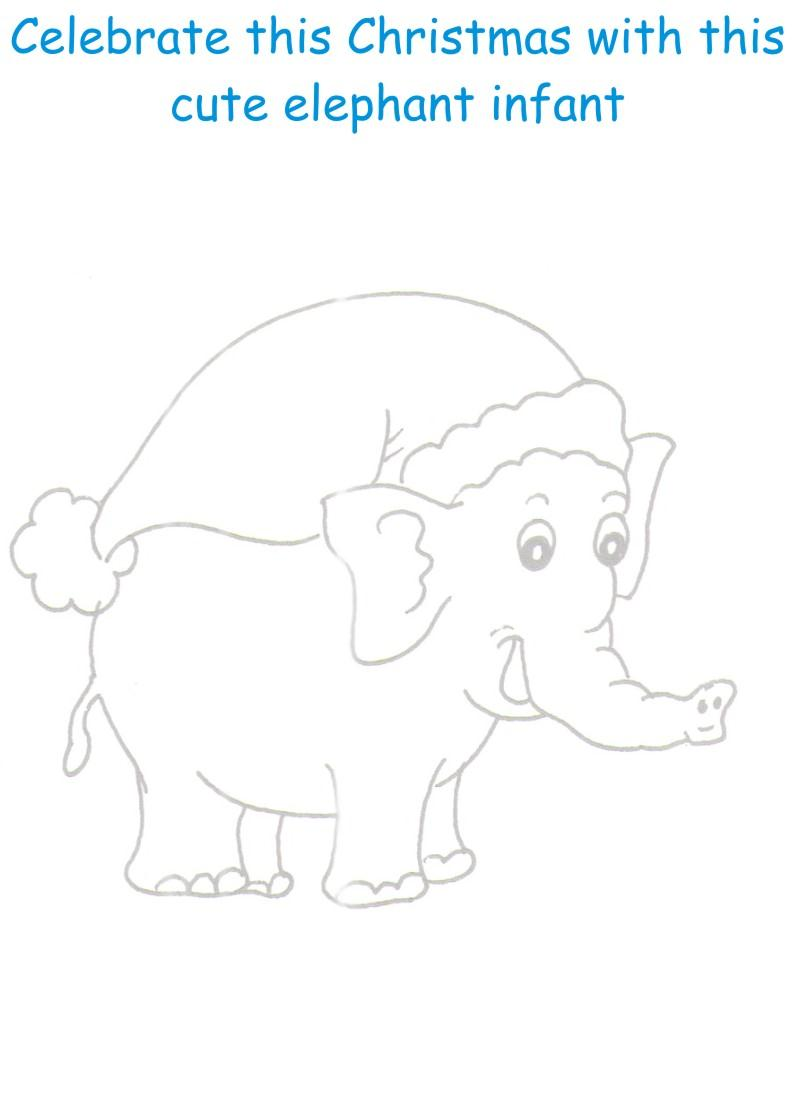 Christmas Elephant Coloring printable page for kids