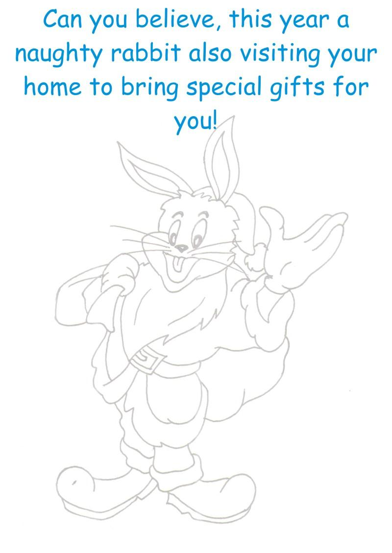 Rabbit as Santa coloring printable page for kids