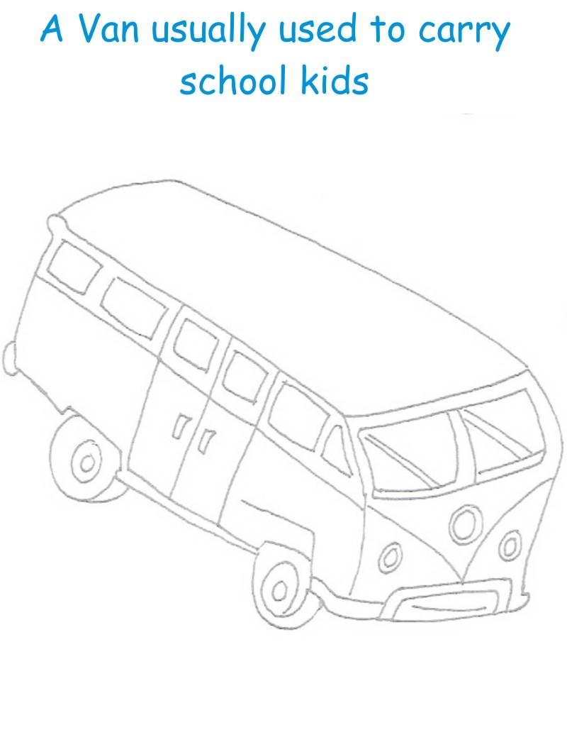 Van printable coloring page for kids