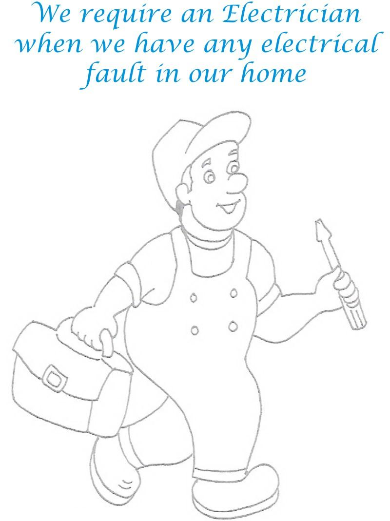 Electrician Coloring Printable Page For Kids