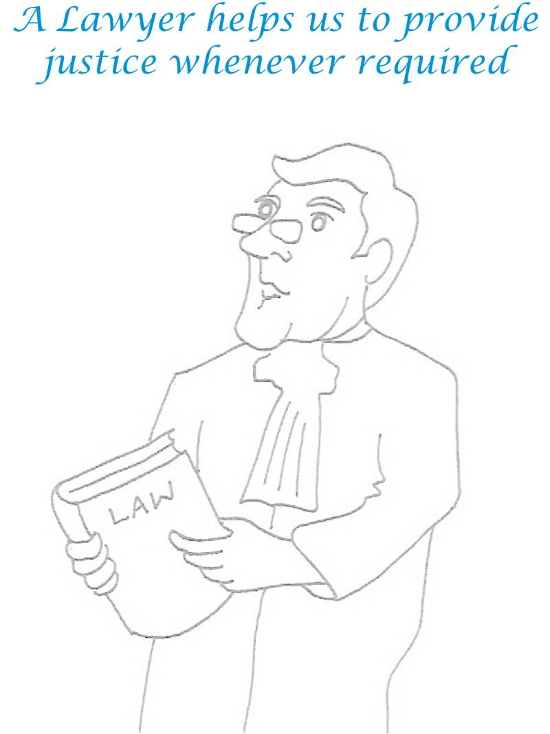 Lawyer printable coloring page for kids