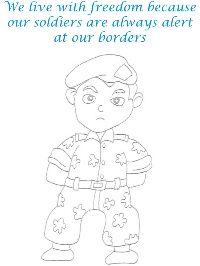 Soldier printable coloring page for kids