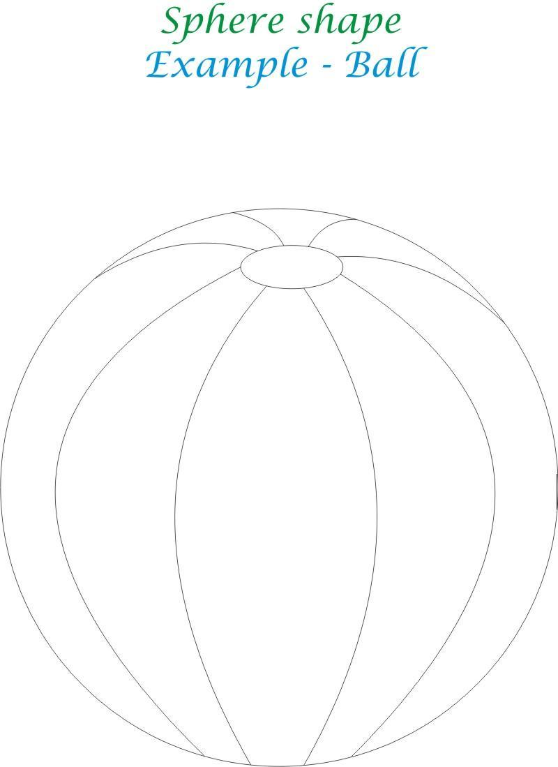 Sphere shape coloring printable page for kids