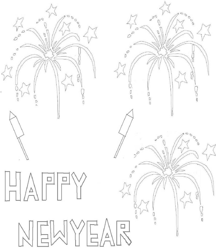 New Year fire works coloring page for kids