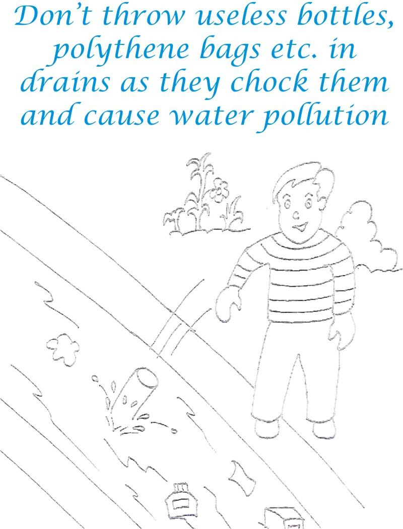 Control Water Pollution Coloring Page