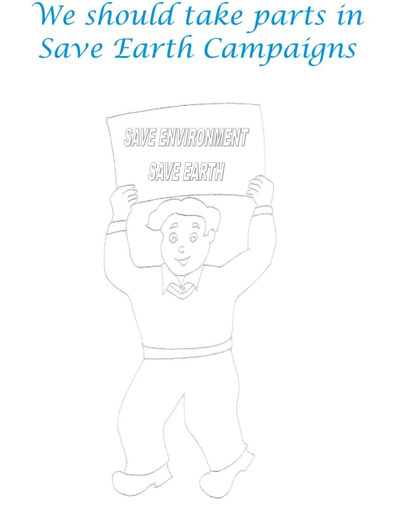 Save Environment Campaign Coloring Page
