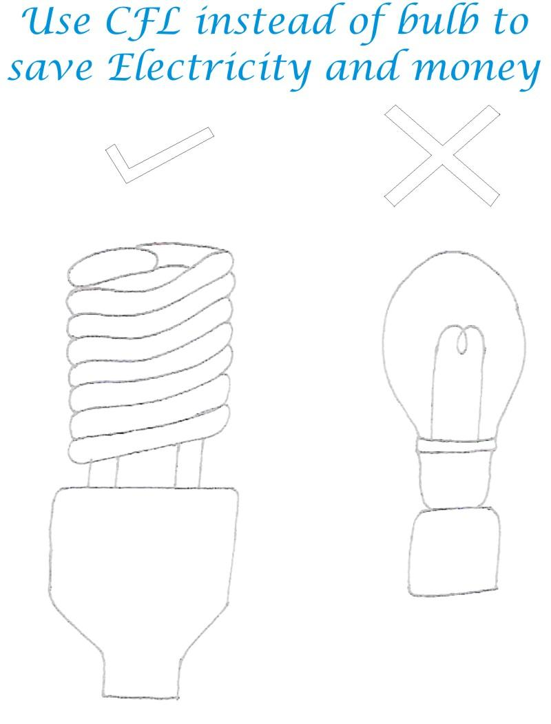 Use CFL Save Electricity Coloring Page