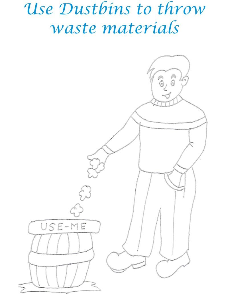 Use Dustbin Save Environment Coloring Page
