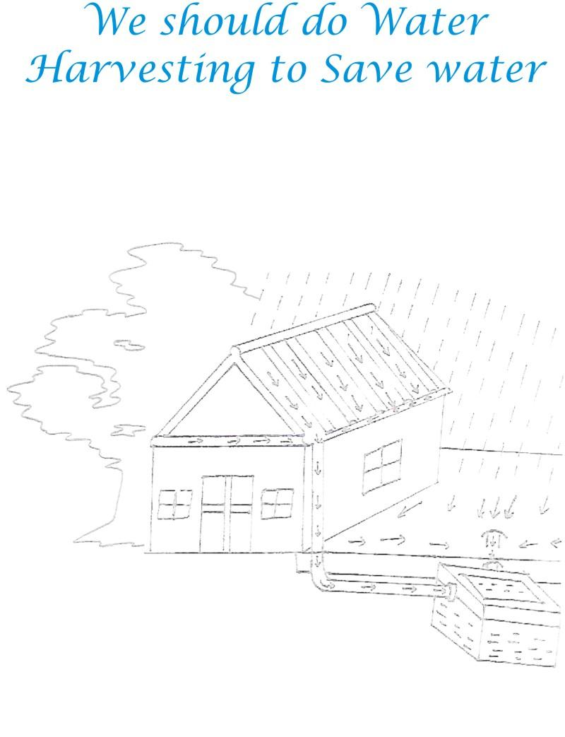 Water Harvesting To Save Environment Coloring Page