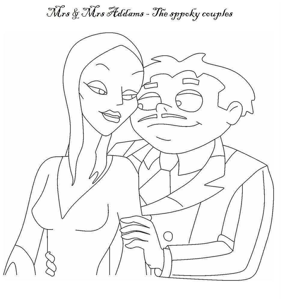 The Addams Family coloring pages - Mrs & Mr Addams