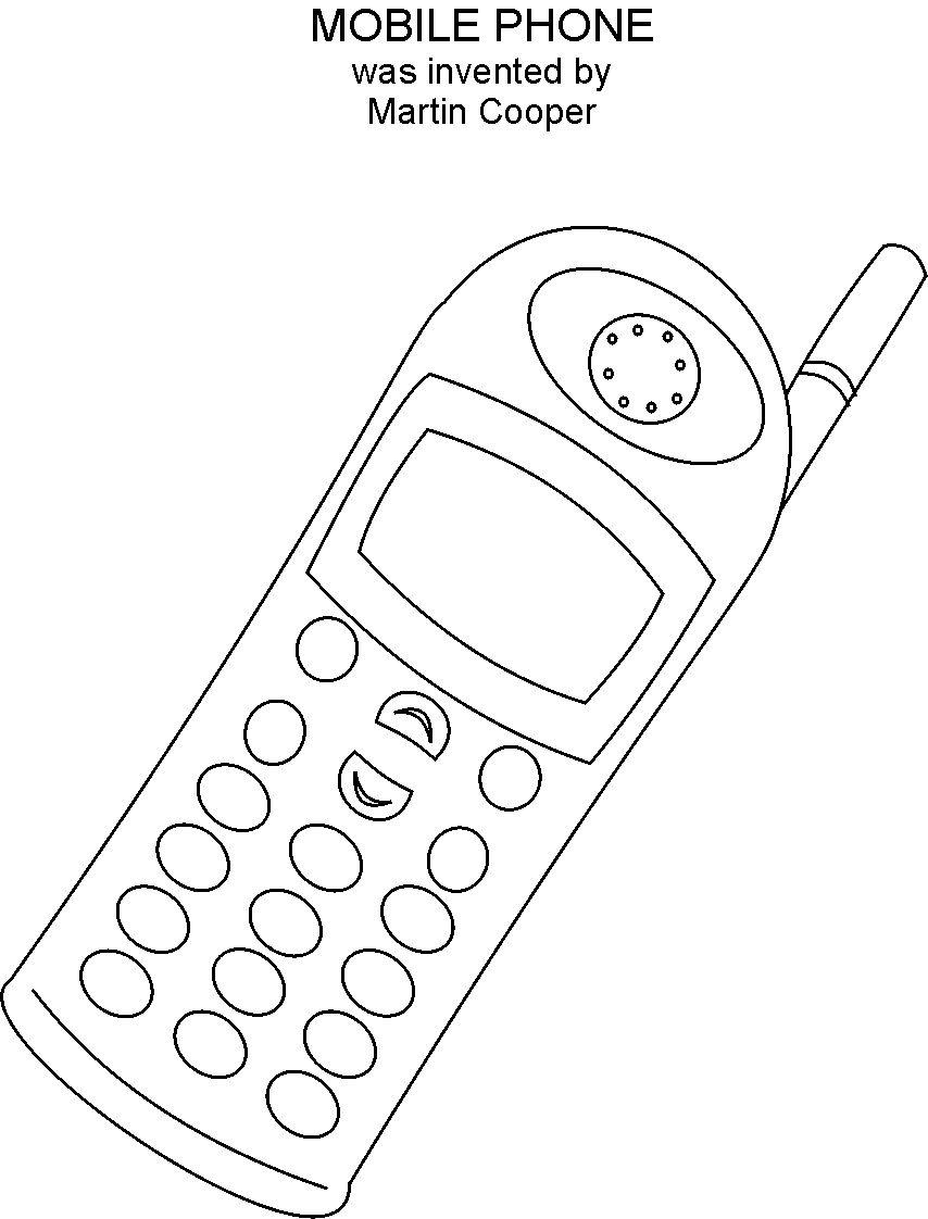 mobile phone coloring printable