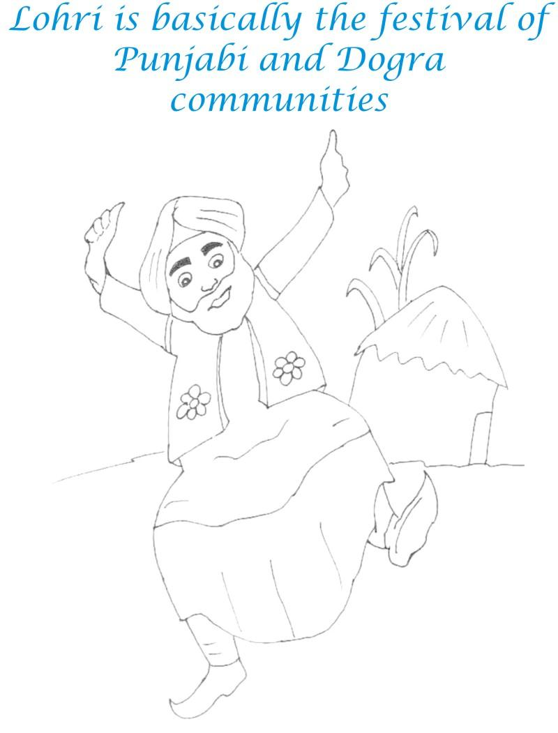Lohri Dance Printable Coloring Page for kids