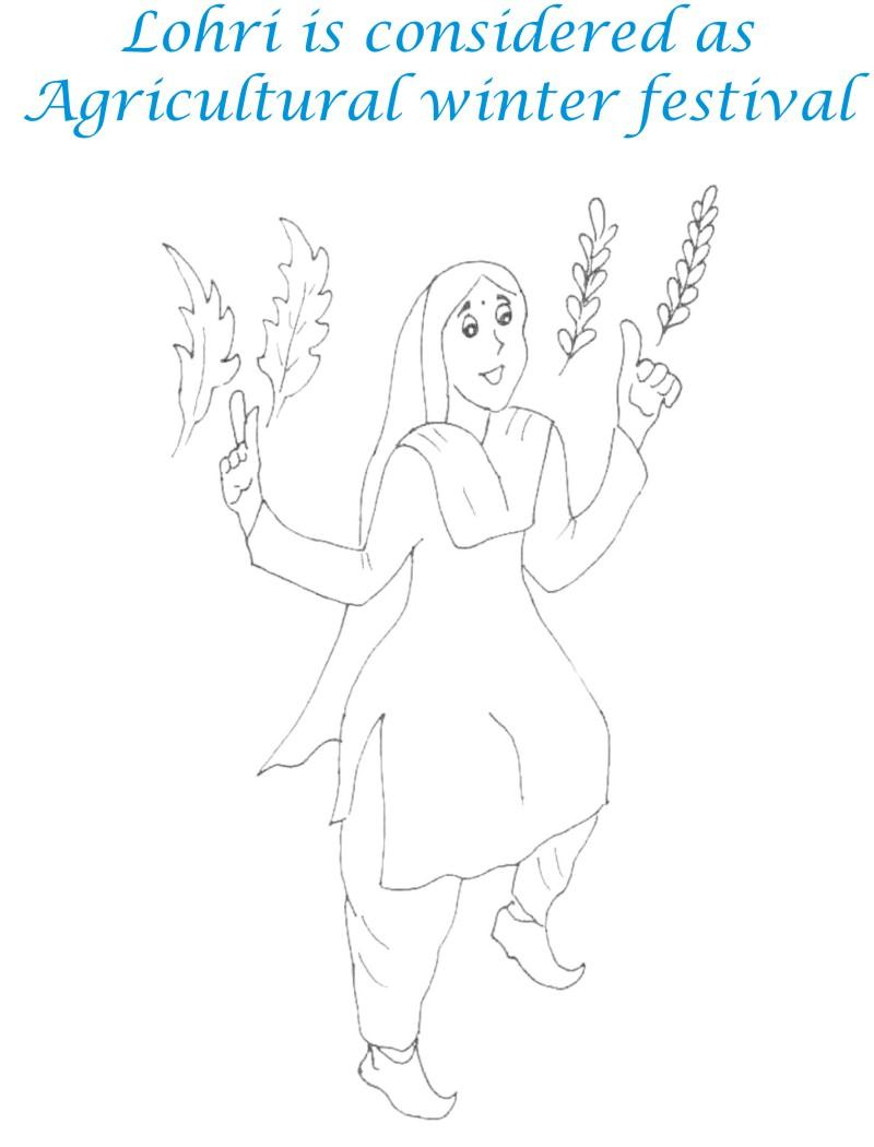Lohri Agricultural festival coloring page for kids