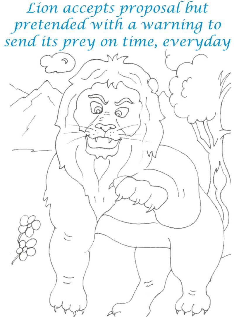 Lion speaks in anger coloring page for kids