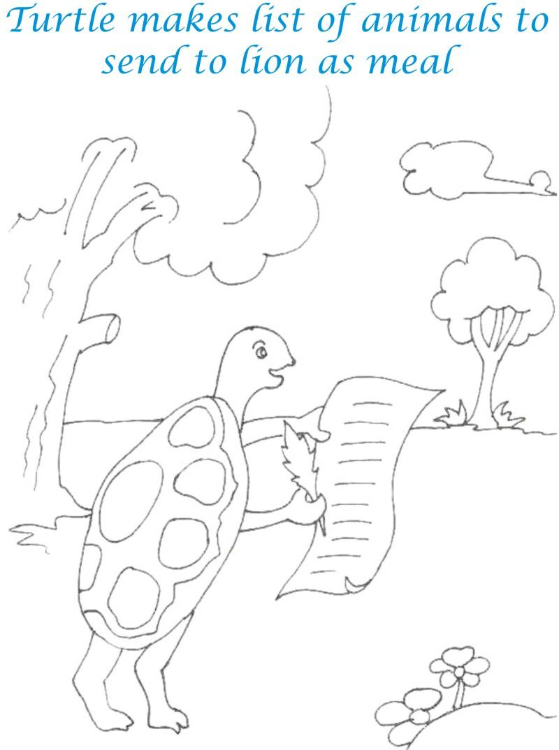 Tortoise makes animals list coloring page for kids