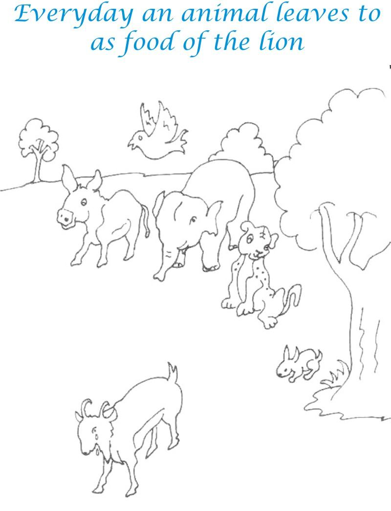 Goat leaves other animals coloring page for kids
