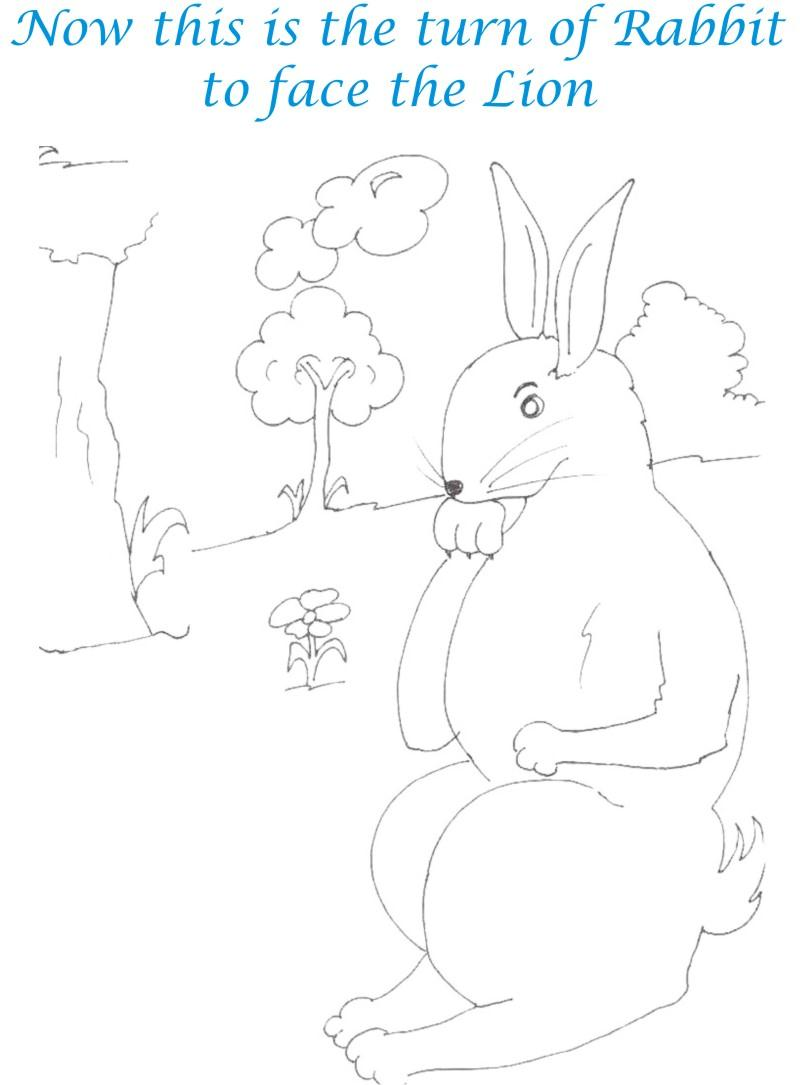 Rabbit in thought coloring page for kids