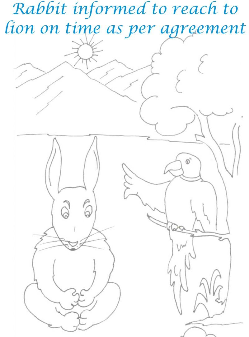 Parrot talks to Rabbit coloring page for kids