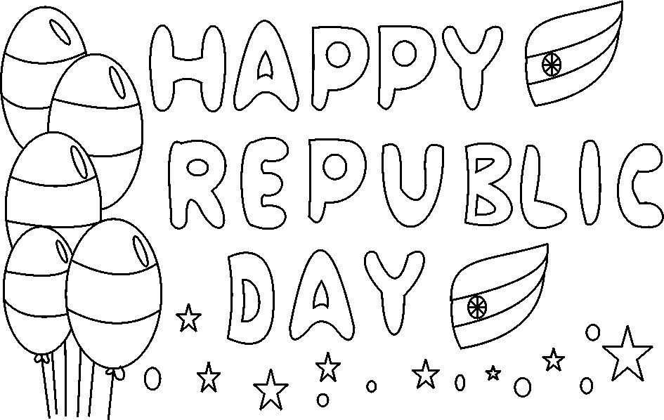 Happy Republic day coloring page