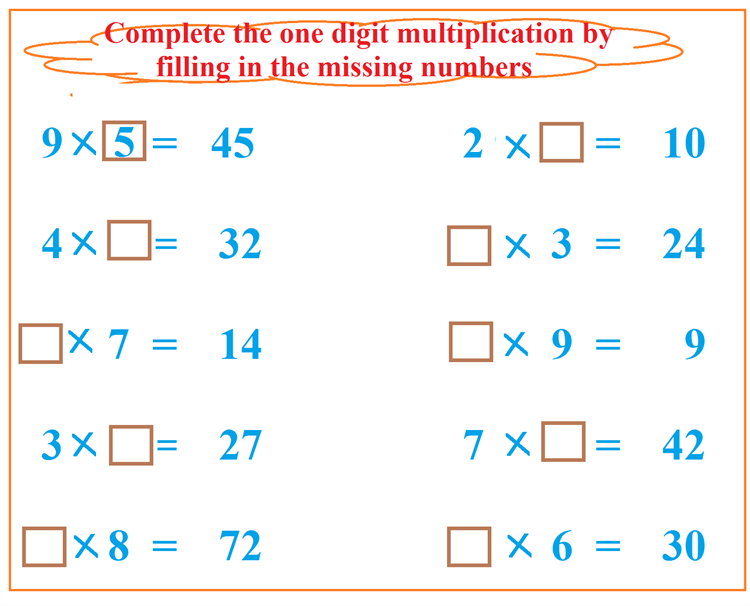 Maths worksheet for learning Multiplication 63