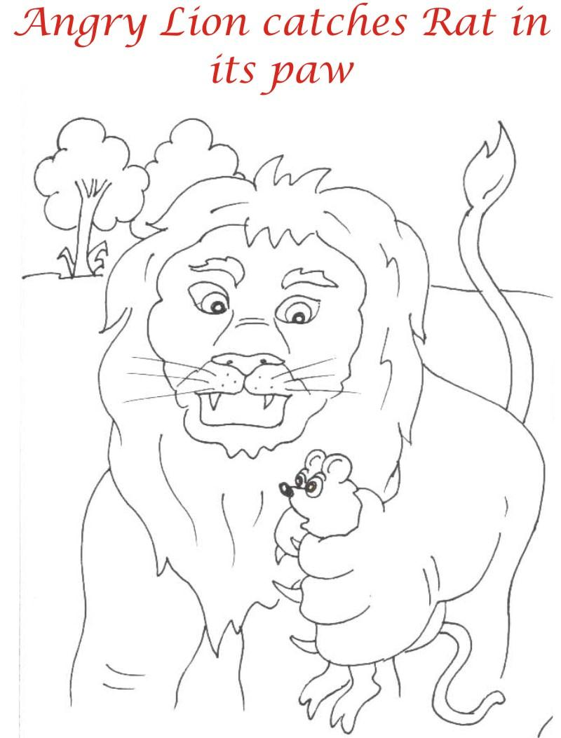 Lion catches rat coloring page for kids