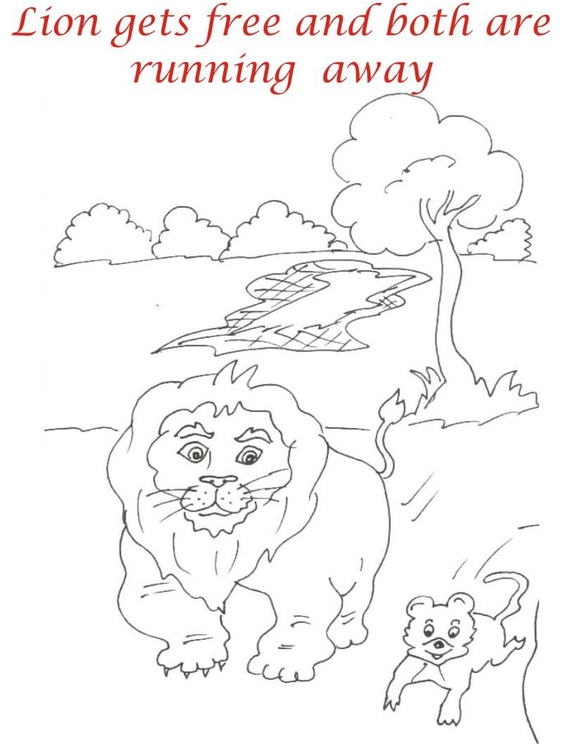 Lion and Rat Running coloring page