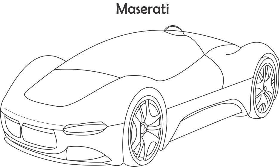 Super car Maserati coloring page
