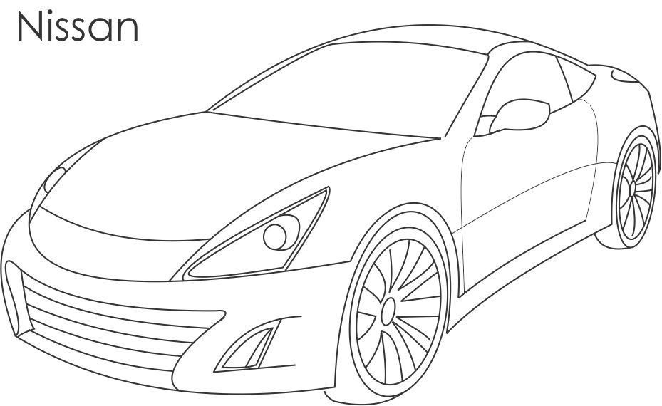 super car nissan coloring page for kids. Black Bedroom Furniture Sets. Home Design Ideas