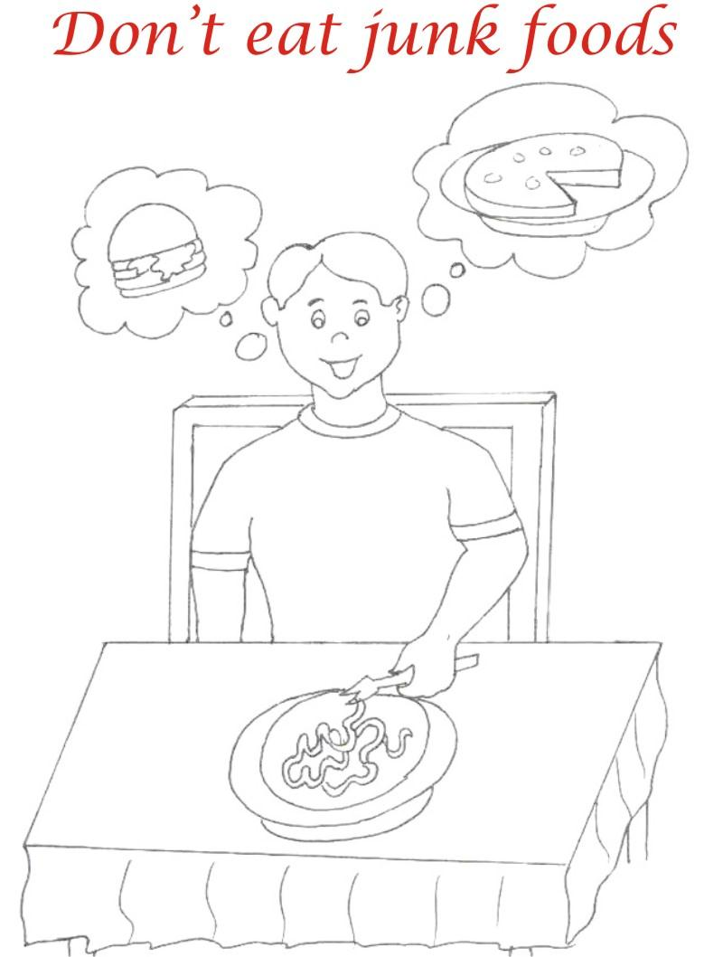 Eating manners coloring printable page 5 for kids