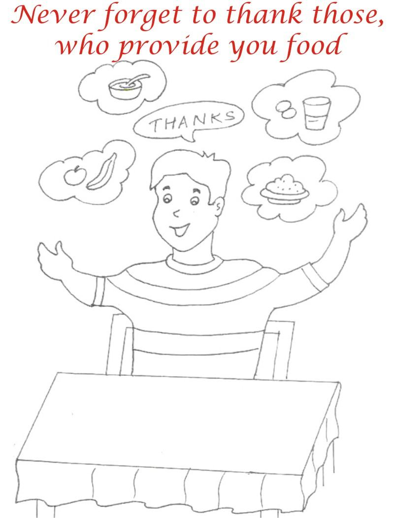 Eating manners coloring printable page 8 for kids