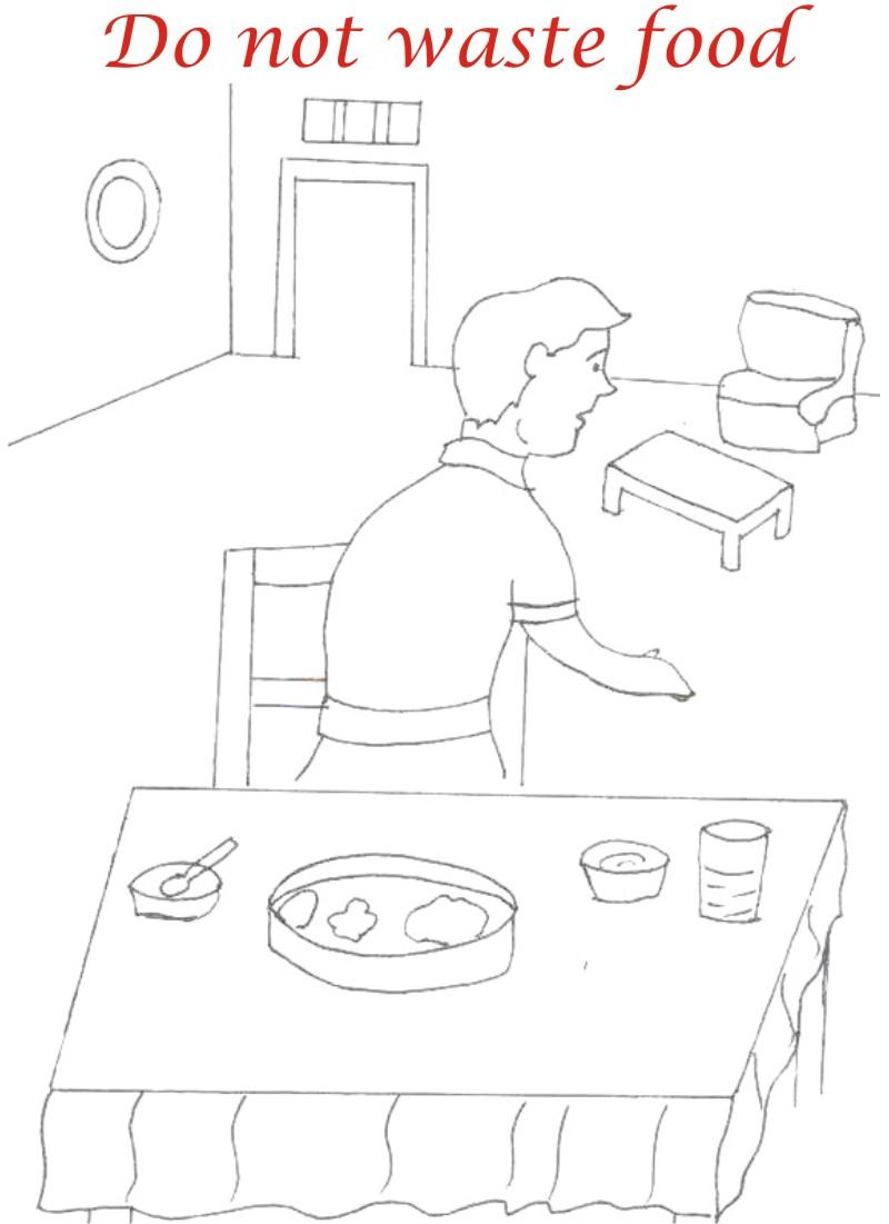 Eating manners coloring printable page 10 for kids