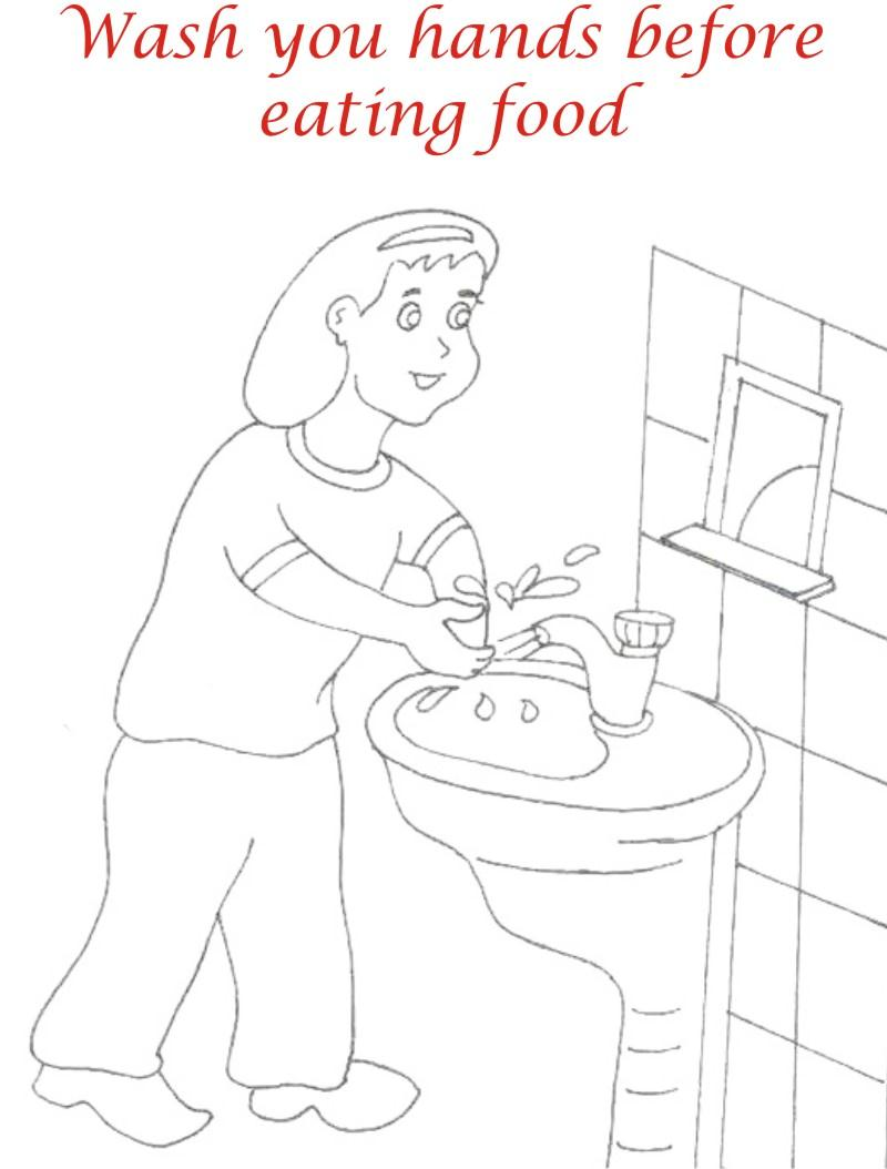 Wash hands before eating coloring page for kids