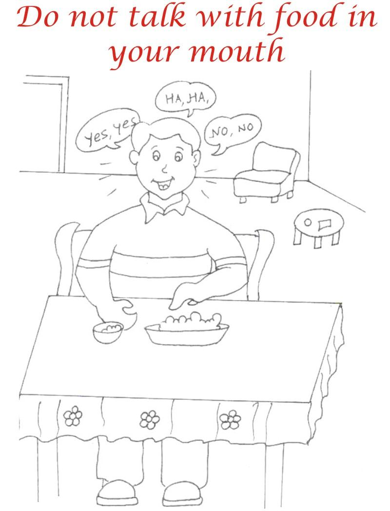 Eating manners coloring printable page 4 for kids