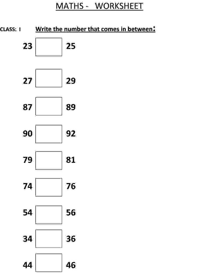 Write the Number that comes in between a - Maths worksheet for class 1