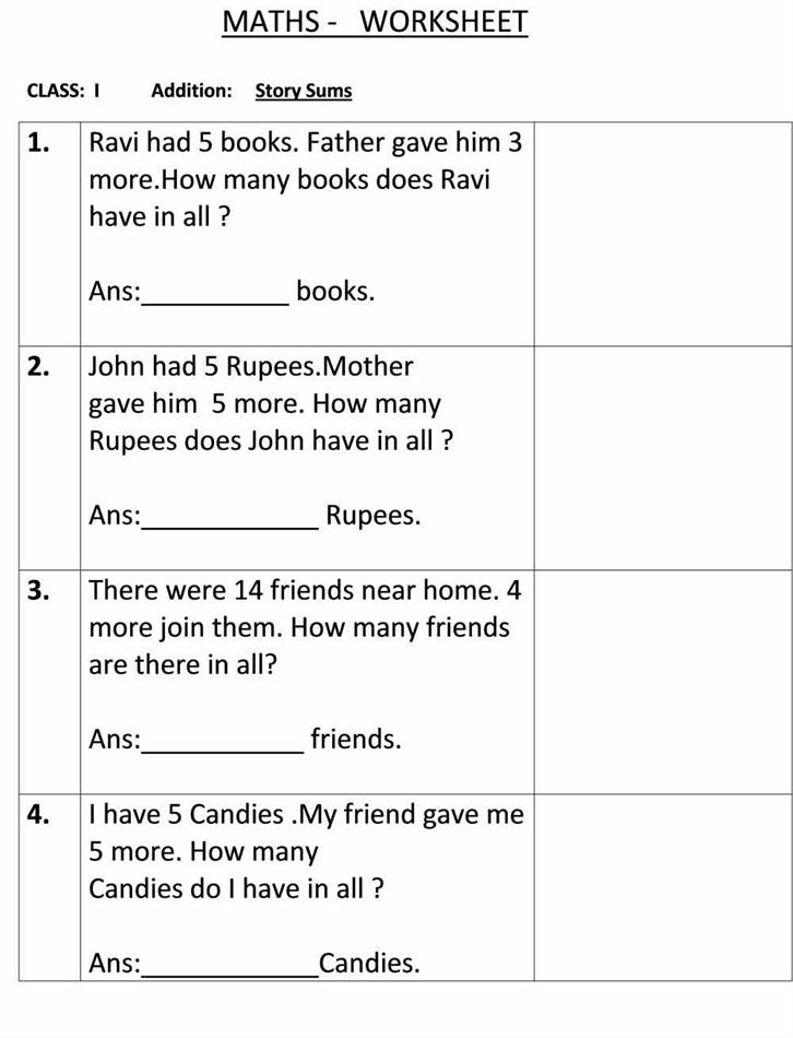 Story sum - Class 1 Maths Worksheet