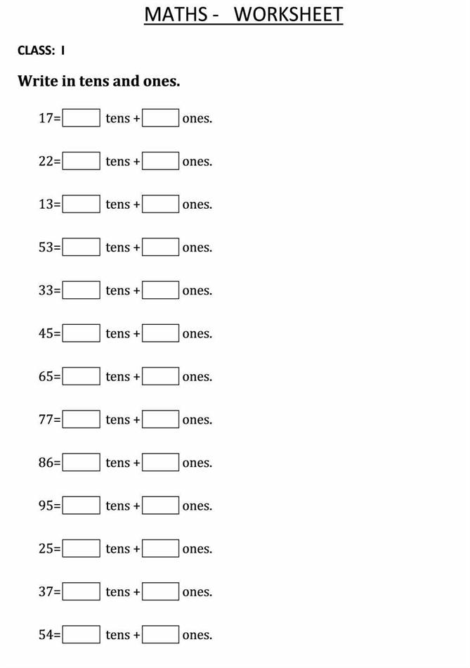 Write the Tens and Ones numbers - Class 1 Maths Worksheet