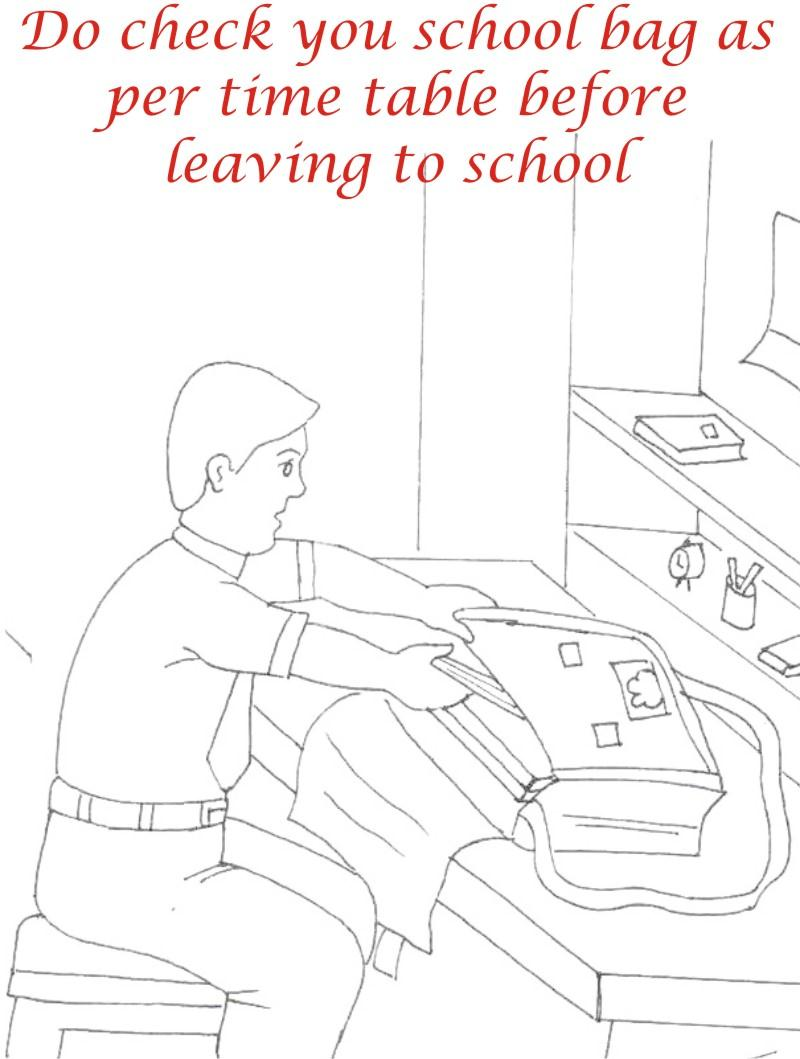 School bag coloring printable page for kids