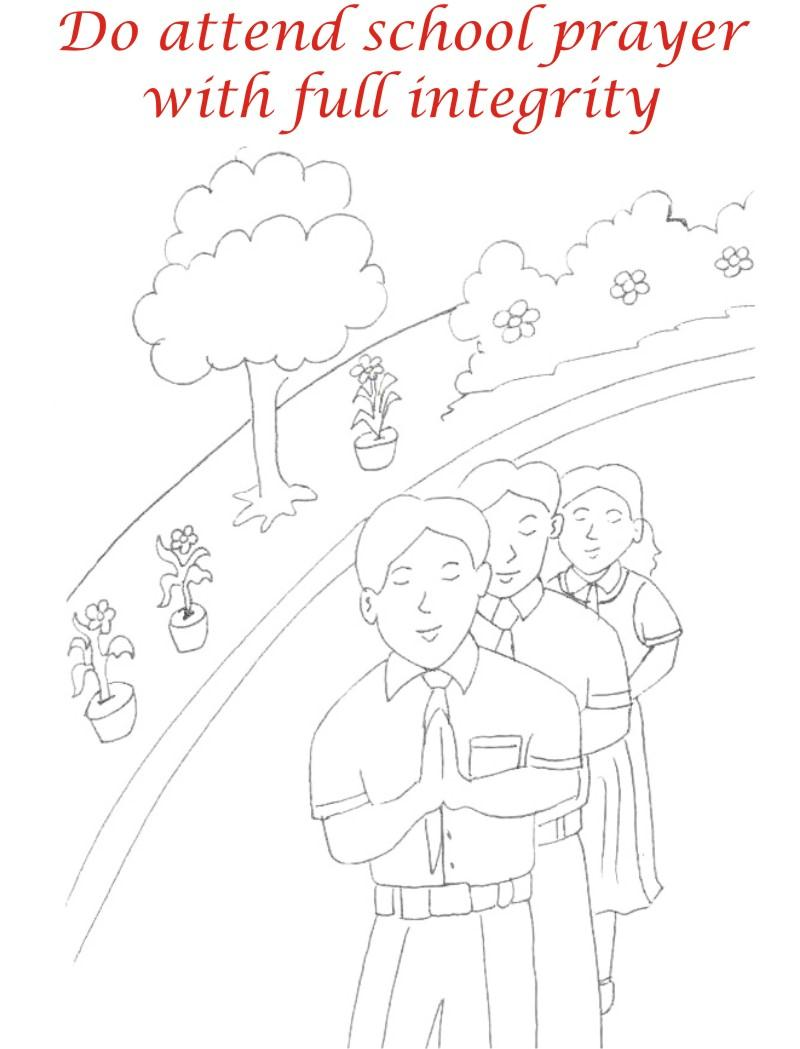 School prayer coloring printable page for kids