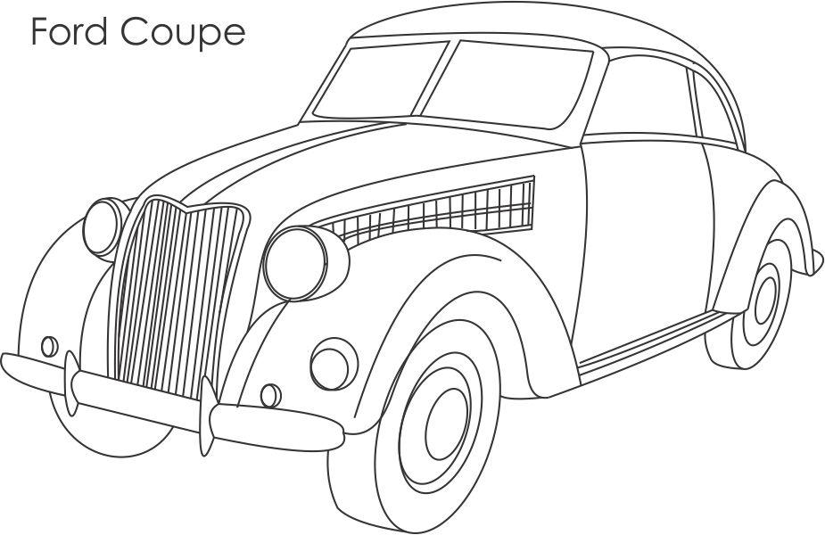 Ford Coupe Car Coloring Printable Page For Kids
