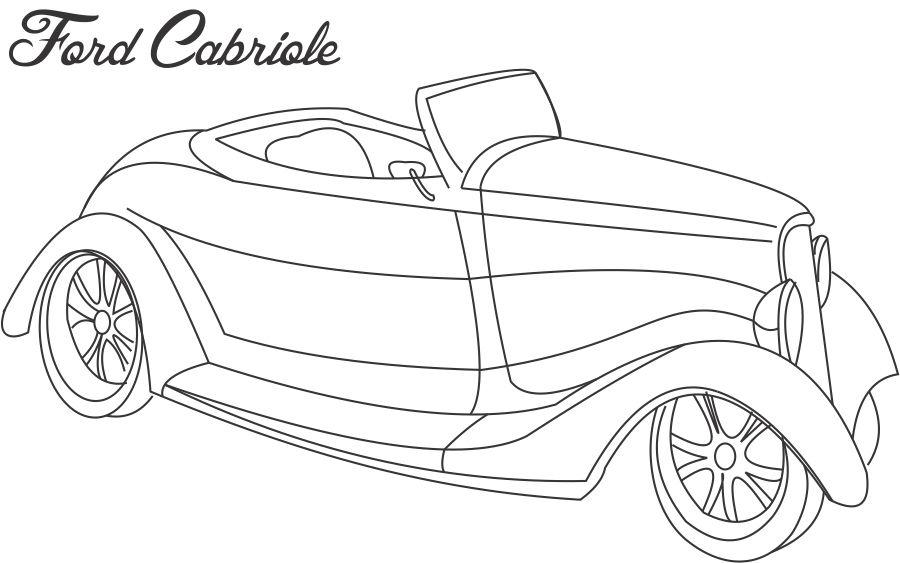 Ford cabriole car coloring printable