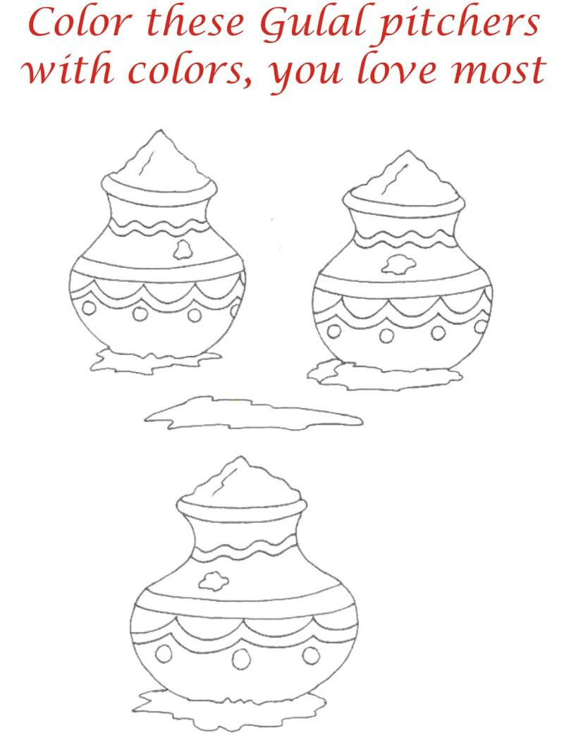 Holi coloring printable pages for kids 5